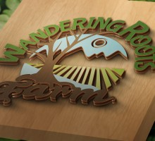 Wandering Roots Farm logo design - based on a sketch by the owner